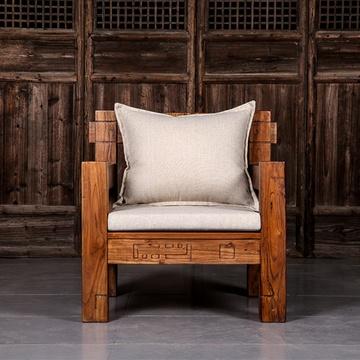 溪木工坊 老榆木贵妃沙发 新中式家具全实木转角u型客厅沙发组合(单人