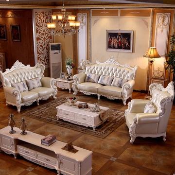 佳宜居 客厅奢华欧式实木皮沙发 美式大户型雕花客厅实木沙发组合 005
