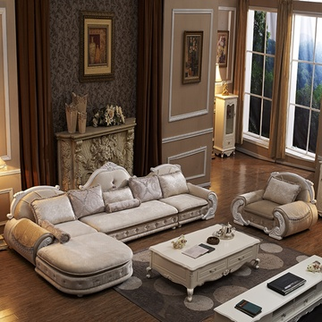 尼尔诗帝 欧式沙发 布艺沙发 客厅组合(米黄色 l组合+双扶手单人位)