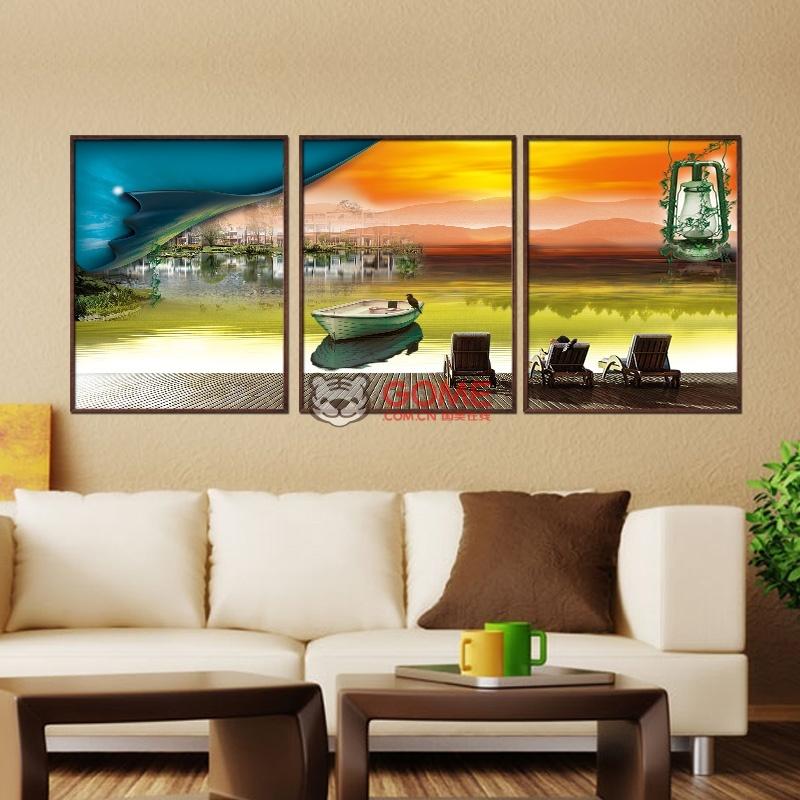 实木有框画 现代简约风格家居客厅沙发背景墙装饰画 三联风景画 湖畔