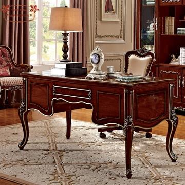 美式书桌 欧式实木办公桌电脑桌写字书台深色美式书房