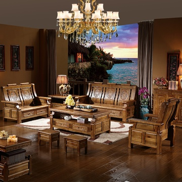 全实木沙发香樟木中式古典家具客厅仿古