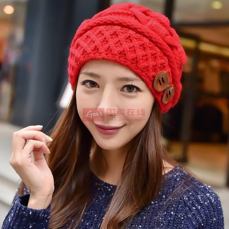 【帽子红色图片】毛线帽秋冬护耳加绒帽子女 韩版可爱