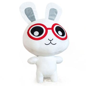 可爱眼镜兔公仔 撅嘴兔兔毛绒玩具娃娃亲嘴兔玩偶抱枕