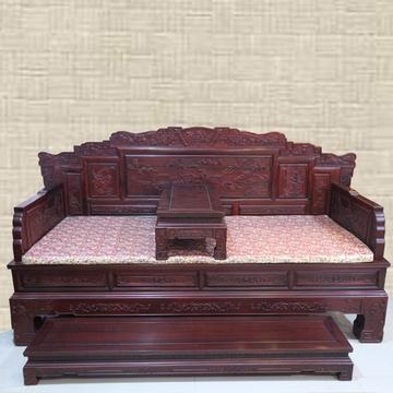 红木家具红木罗汉床实木床塌三件套中式雕花沙发床木