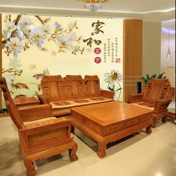 红木家具红木沙发6件套大富豪实木客厅组合大果紫檀