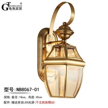 欧式金色户外灯具 美式简约全铜卧室床头灯玄关走廊