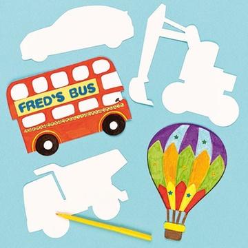 紙質白坯交通工具 兒童涂涂畫畫 diy彩繪 白模上色 25