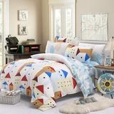 罗优家纺 床上用品纯棉四件套 全棉床单被套枕头套(北欧小镇 2.0床)