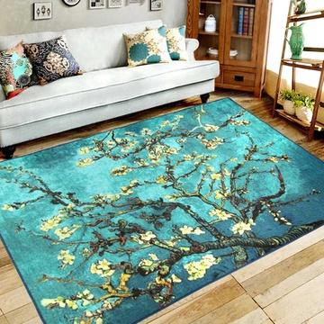 捷成地毯 客厅卧室欧式书房茶几现在梵高军绿色迷彩