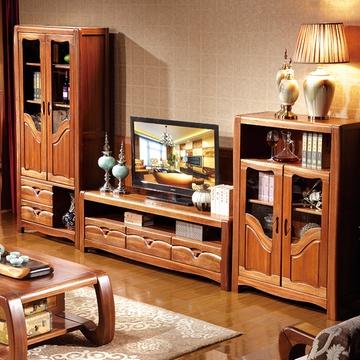 百洛斯 实木电视柜 客厅组合柜套装 中式金丝檀木地柜