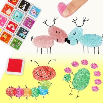 正方形彩色印台印章印泥幼儿园儿童手指纹画手工材料