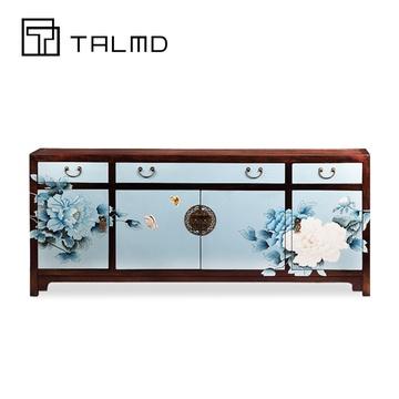 talmd新中式手绘电视柜