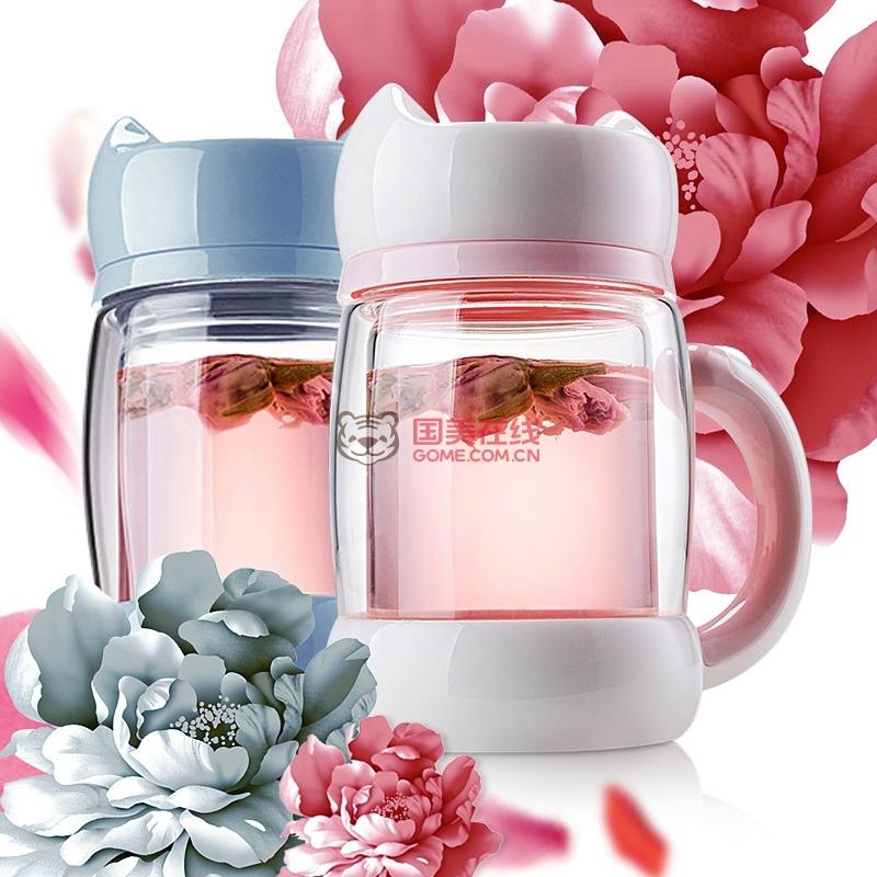 猫咪杯子双层保温玻璃杯女士花茶杯过滤带盖便携创意可爱水杯