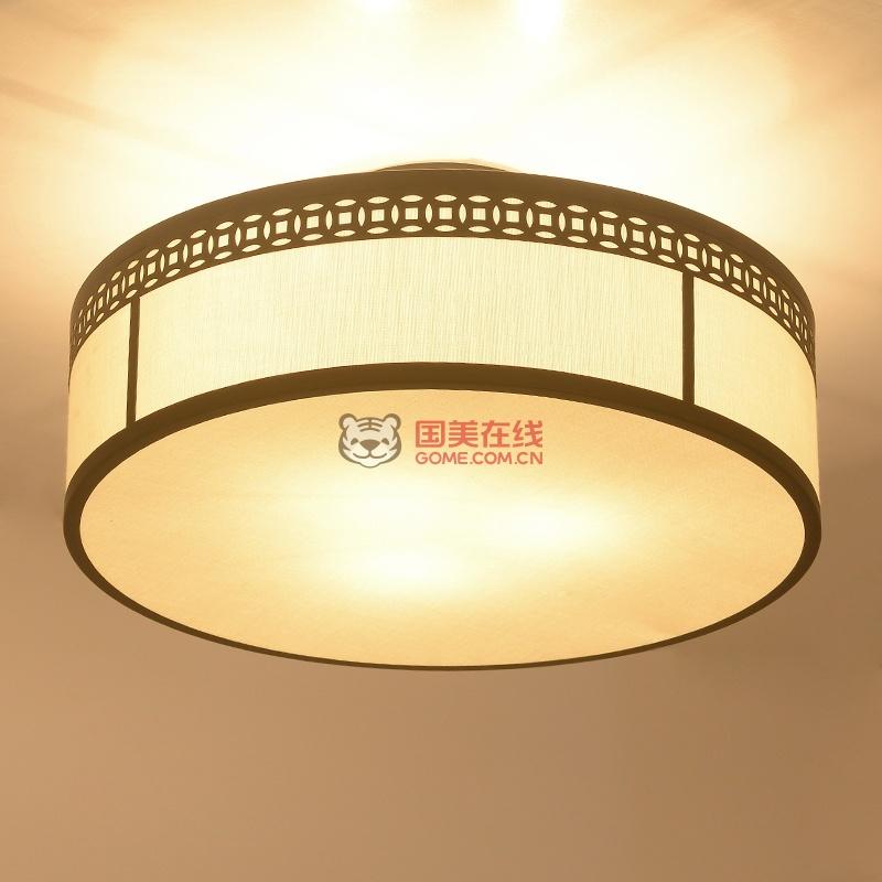 现代新中式卧室灯 仿古酒店房间灯中式吸顶灯圆形