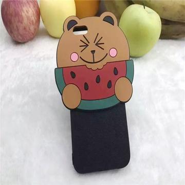 亿和源iphone韩国可爱水果表情熊6s手机壳立体硅胶壳6plus(吃西瓜--4.
