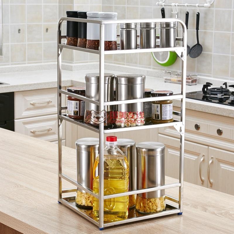 拾爱厨房收纳架三角转角架不锈钢厨房置物架