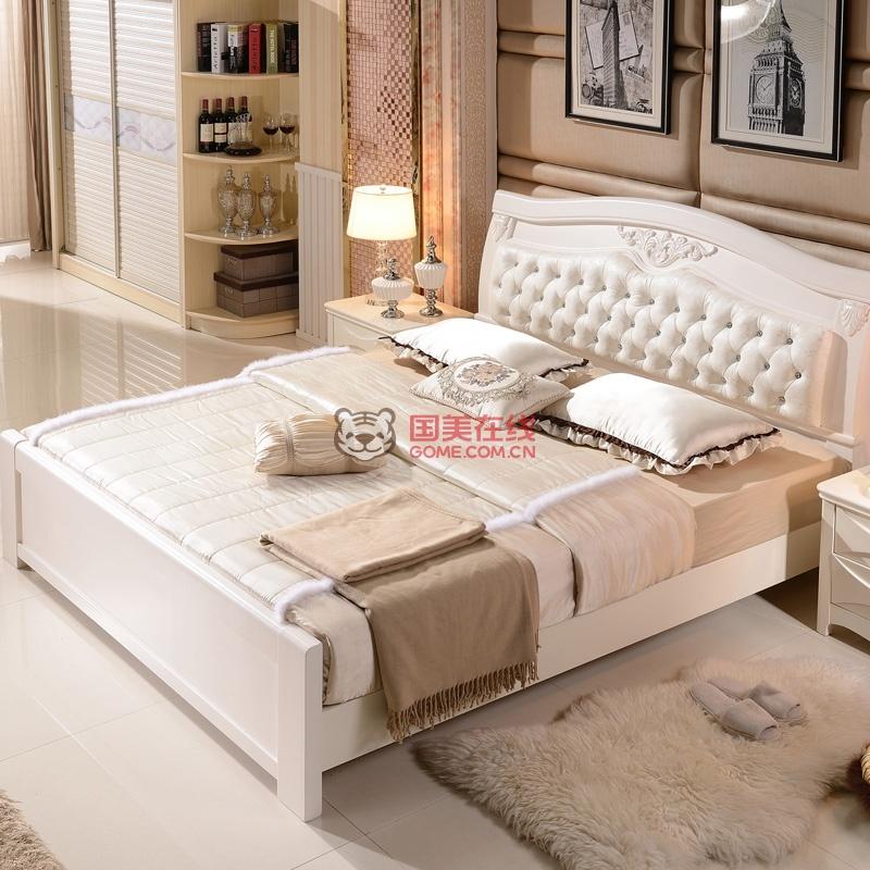 御品梓匠 现代中式白色实木床1.8米双人床