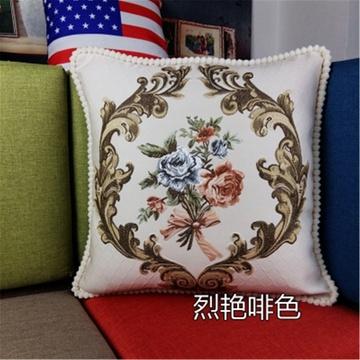 囍人坊 欧式提花浮雕靠垫 布艺床头提花大靠垫 刺绣沙发抱枕套含芯
