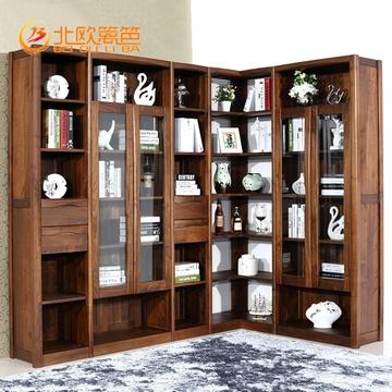 北欧篱笆 黑胡桃木书柜全实木书柜自由组合带玻璃门转角书橱展示柜