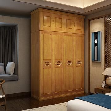 卧室实木衣柜 整体大衣橱 现代中式四五六门橡胶木衣柜1606#(榉木色