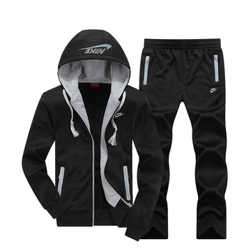nike 跑步运动服 耐克长袖套装 男士加绒加厚跑步服(黑 xl)