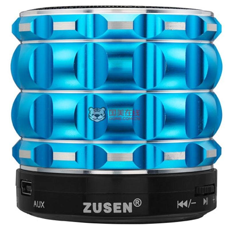 自由声(zusen)zs-801蓝牙音响(蓝色) 外放低音小钢炮音箱无线插卡收