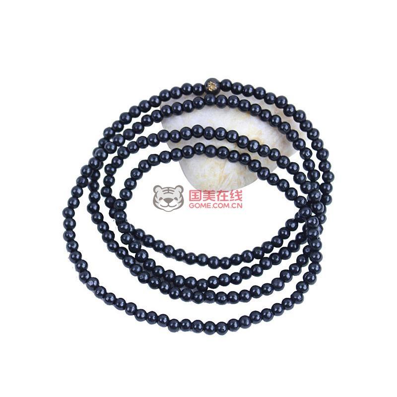 贝瑞雅bry010201323工艺天然黑檀木天然木饰品219颗佛珠手链(黑色)